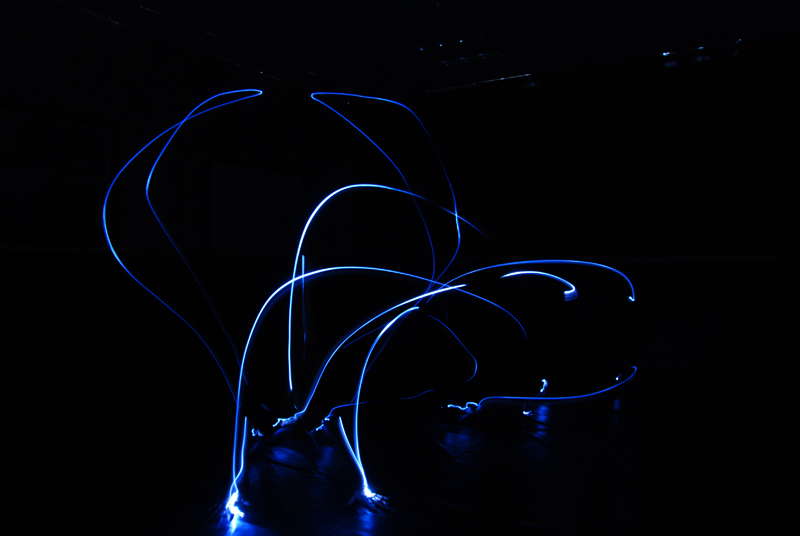 Light drawing of handstand